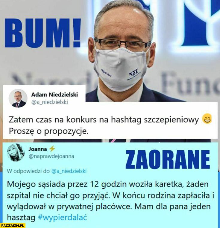 Minister zdrowia Niedzielski konkurs na hashtag szczepieniowy wypierdzielać zaorane