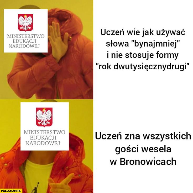 Ministerstwo Edukacji zamiast uczyć jak używać słowa bynajmniej uczy znać wszystkich gości wesela w Bronowicach drake