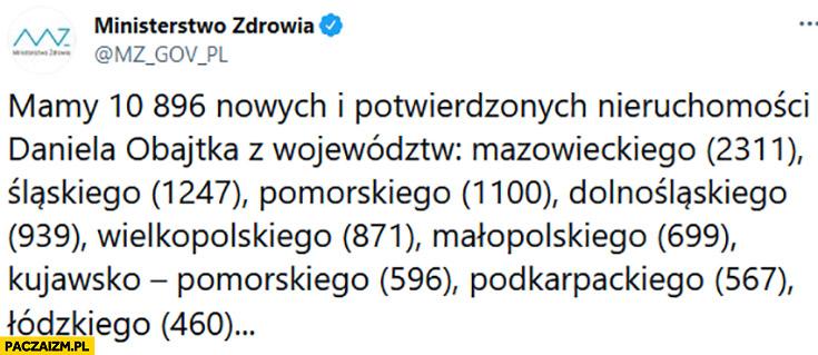Ministerstwo zdrowia: mamy 10896 nowych i potwierdzonych nieruchomości Daniela Obajtka z województw
