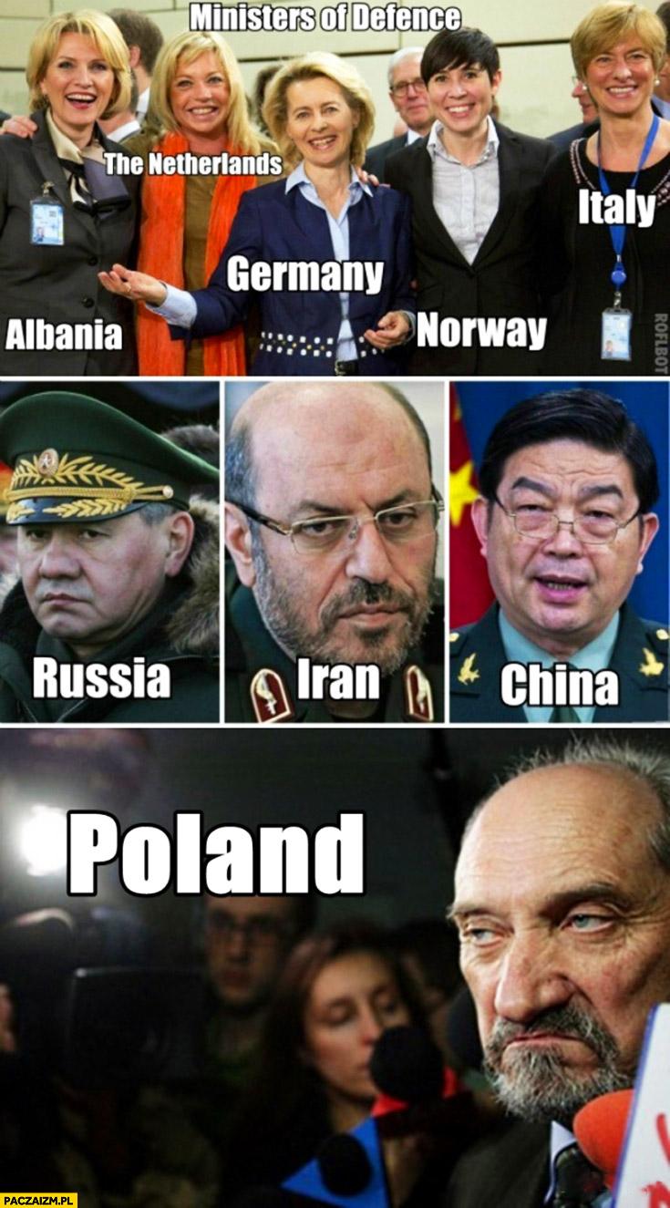 Ministrowie obrony: Rosja, Iran, Chiny, Polska Macierewicz
