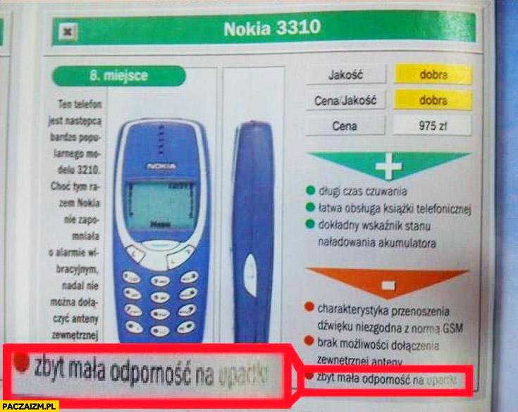 Minus Nokia 3310 zbyt mała odporność na upadki