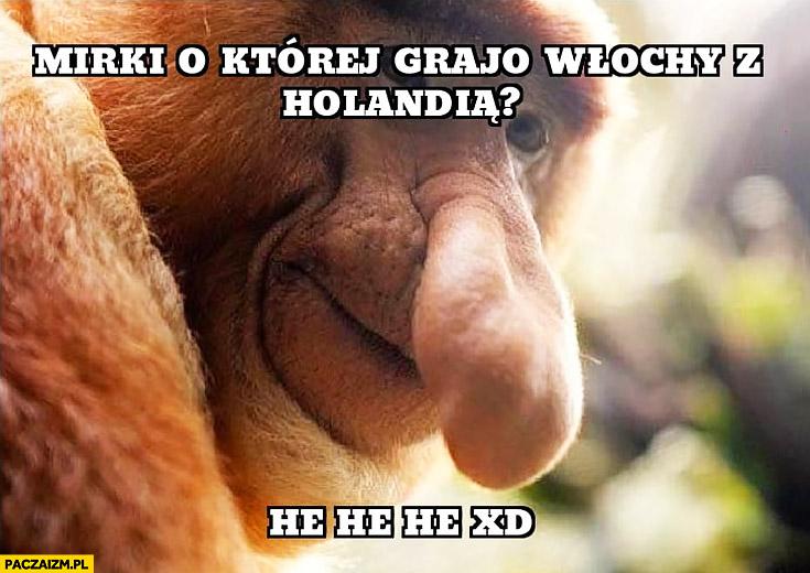 Mirki o której grają Włochy z Holandią he he mundial mistrzostwa świata typowy Polak nosacz małpa