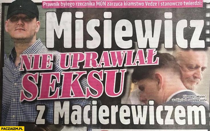 Misiewicz nie uprawiał seksu z Macierewiczem nagłówek okładka gazety prasy