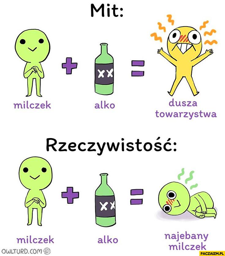 Mit milczek + alkohol = dusza towarzystwa. Rzeczywistość: milczek + alkohol = nawalony milczek