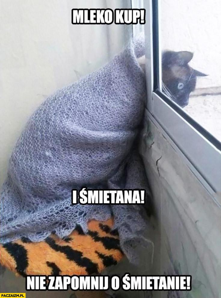 Mleko kup i śmietana, nie zapomnij o śmietanie! Kot krzyczy przez okno