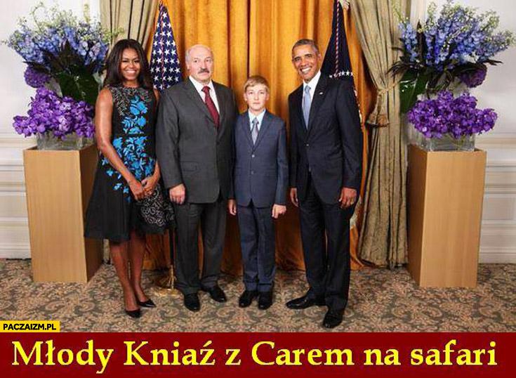 Młody kniaź z carem na safari Łukaszenka Obama