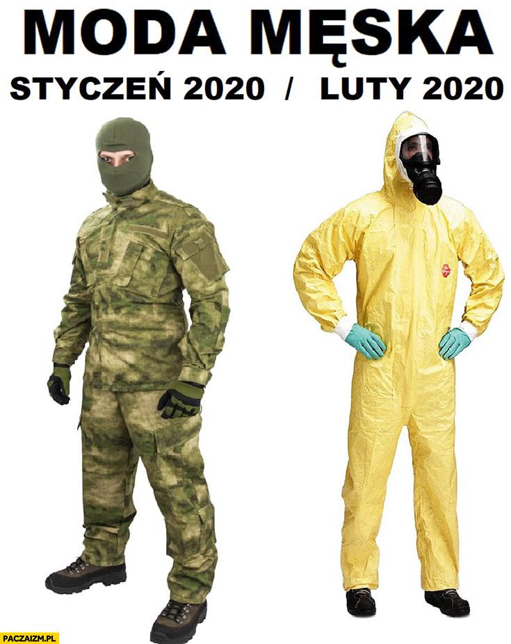 Moda męska styczeń 2020 wojna mundur luty 2020 wirus kombinezon ochronny