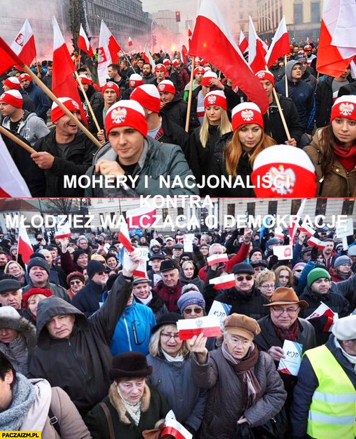 Mohery i nacjonaliści Marsz Niepodległości kontra młodzież walcząca o demokrację demonstracja KOD porównanie
