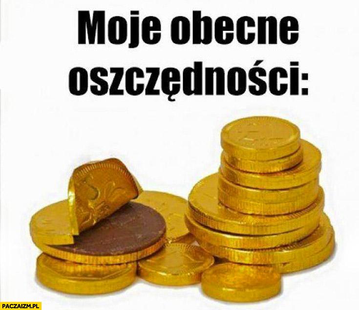 Moje obecne oszczędności monety czekoladowe