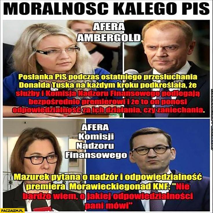 Moralność Kalego według PiS Wassermann mówi o odpowiedzialności premiera za KNF Mazurek nie widzi związku