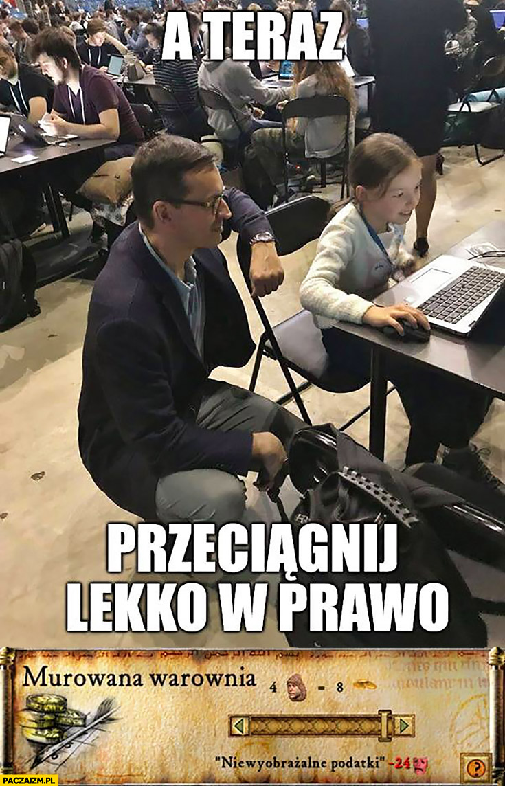 Morawiecki a teraz przeciągnij lekko w prawo: niewyobrażalne podatki dziewczynka przy komputerze