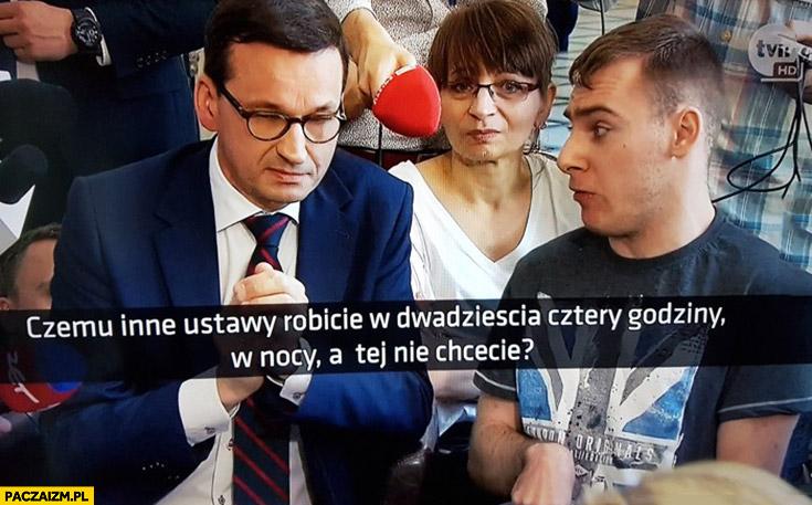 Morawiecki czemu inne ustawy robicie w dwadzieścia cztery godziny w nocy a tej nie chcecie? Niepełnosprawni w sejmie