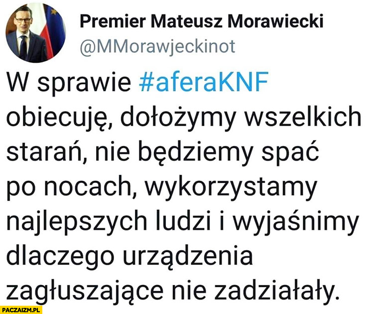 Morawiecki na twitterze dołożymy wszelkich starań żeby wyjaśnić dlaczego urządzenia zagłuszające nie zadziałały