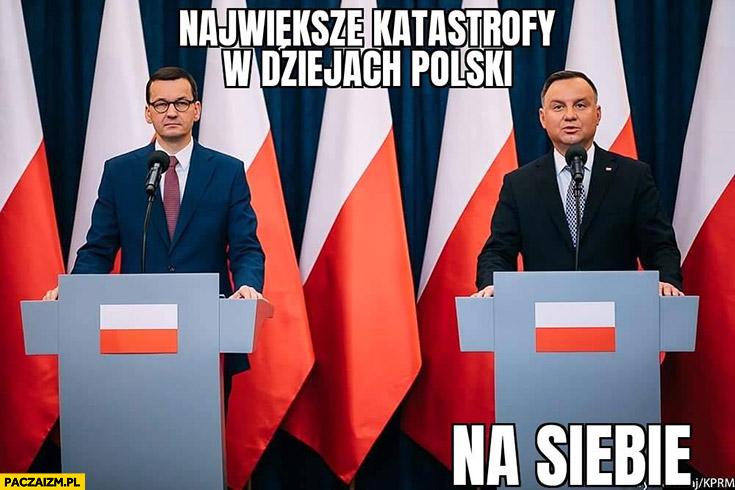 Morawiecki Duda największe katastrofy w dziejach Polski na siebie teleturniej
