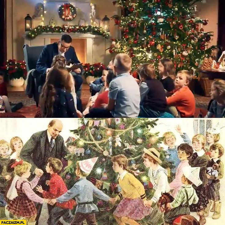 Morawiecki jak Lenin czyta dzieciom na święta przy choince