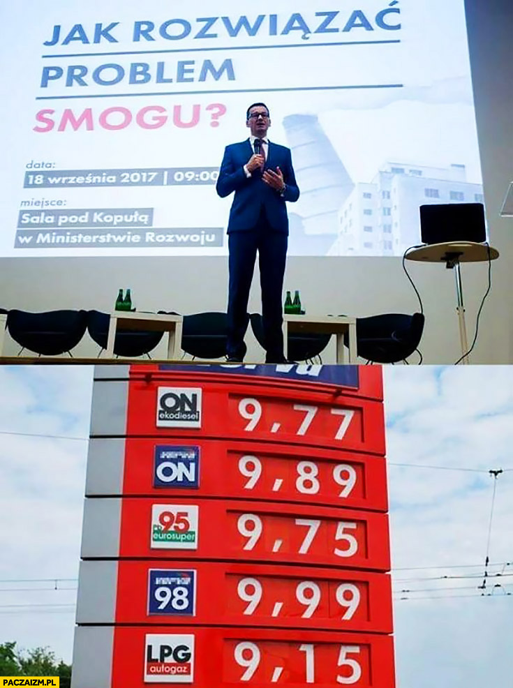 Morawiecki jak rozwiązać problem smogu: paliwo po 9 złotych