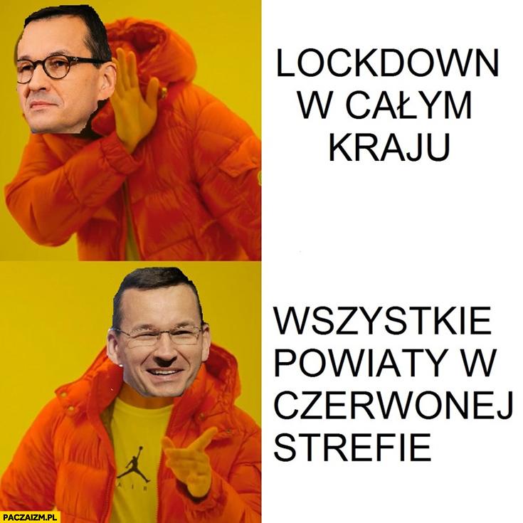 Morawiecki lockdown w całym kraju nie chce, woli wszystkie powiaty w strefie czerwonej