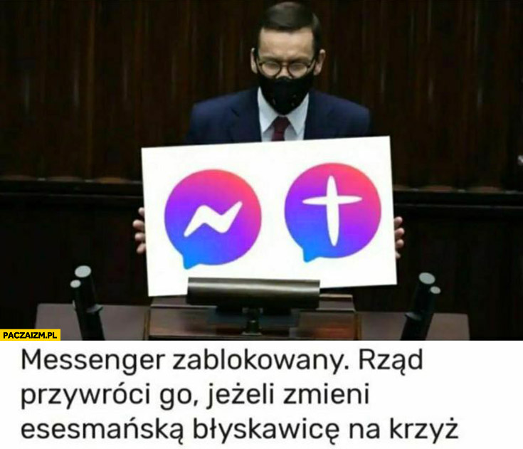 Morawiecki messenger zablokowany rząd przywróci go jeżeli zmieni esesmańską błyskawicę na krzyż logo