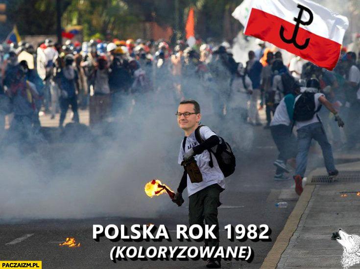 Morawiecki Polska rok 1982 koloryzowane jak walczył z komunizmem