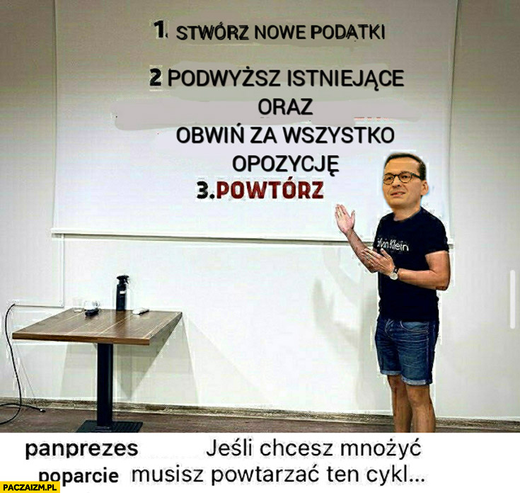 Morawiecki stwórz nowe podatki, podwyższ istniejące oraz obwiń za wszystko opozycję, powtórz cykl