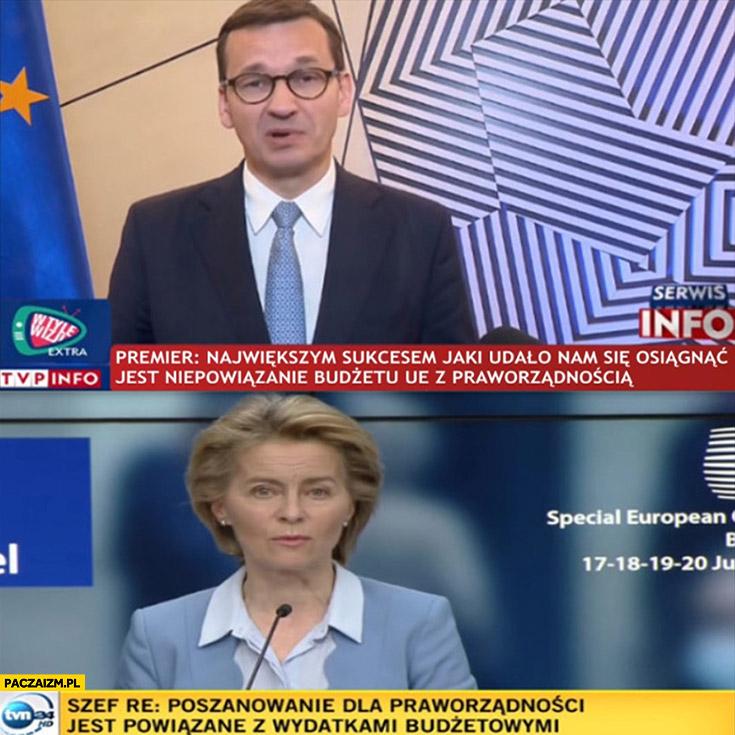 Morawiecki sukces niepowiązanie budżetu UE z praworządnością szefowa PE mówi na odwrót