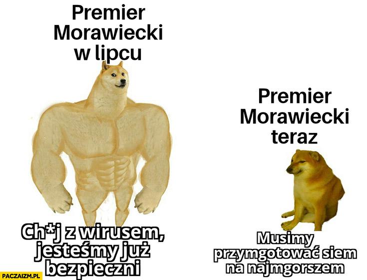 Morawiecki w lipcu: jesteśmy już bezpieczni, Morawiecki teraz: musimy przygotować się na najgorsze pieseł doge