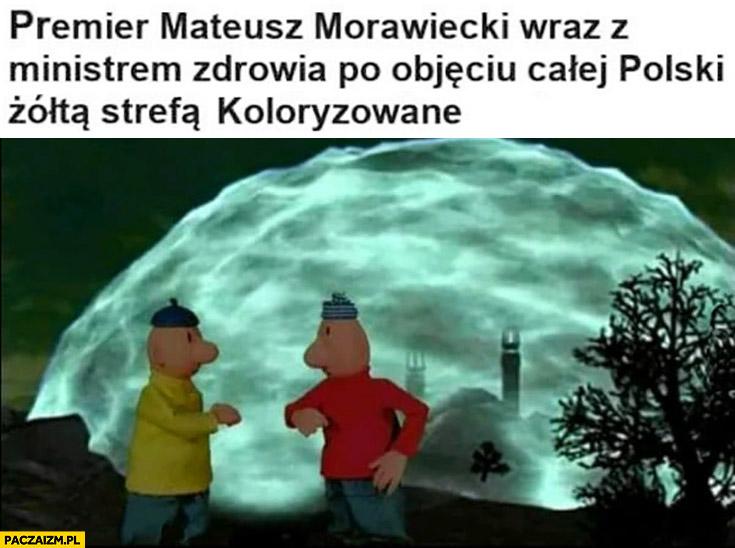 Morawiecki z ministrem zdrowia po objęciu całej Polski żółtą strefą koloryzowane bajka sąsiedzi