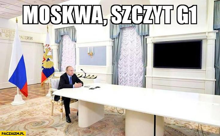 Moskwa szczyt G1 Putin sam na sali