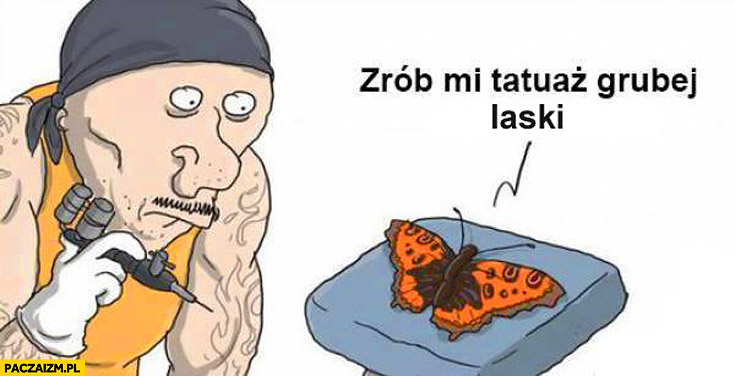 Motyl zrób mi tatuaż grubej laski