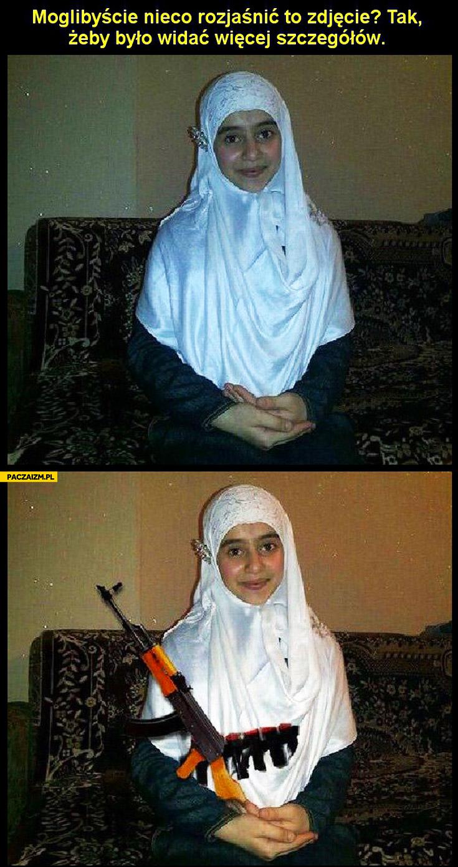 Możecie rozjaśnić zdjęcie żeby było widać więcej szczegółów kałasznikow AK47 bomba muzułmanka