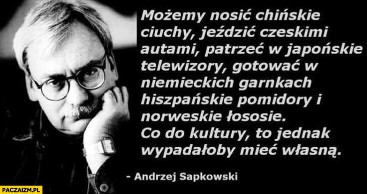 Możemy nosić chińskie ciuchy, jeździć czeskimi autami, patrzeć w japońskie telewizory, co do kultury to jednak wypadałoby mieć własną Andrzej Sapkowski