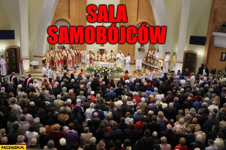 Msza w kościele sala samobójców korona wirus