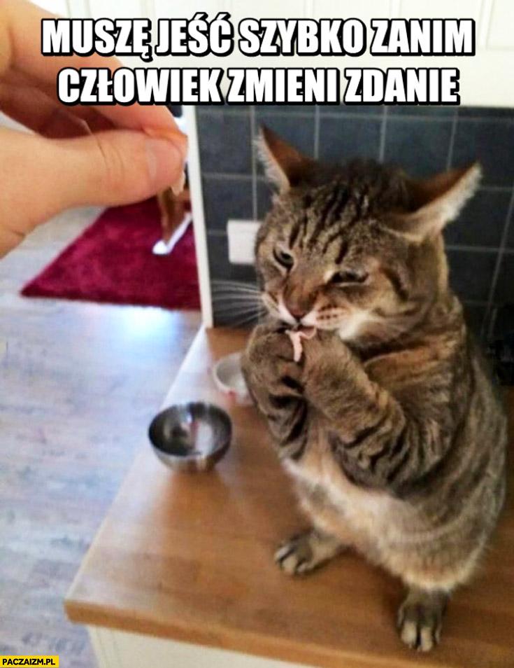 Muszę jeść szybko zanim człowiek zmieni zdanie kot