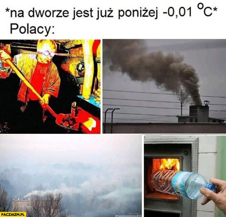 Na dworze jest poniżej zera stopni Polacy palą śmieciami smog