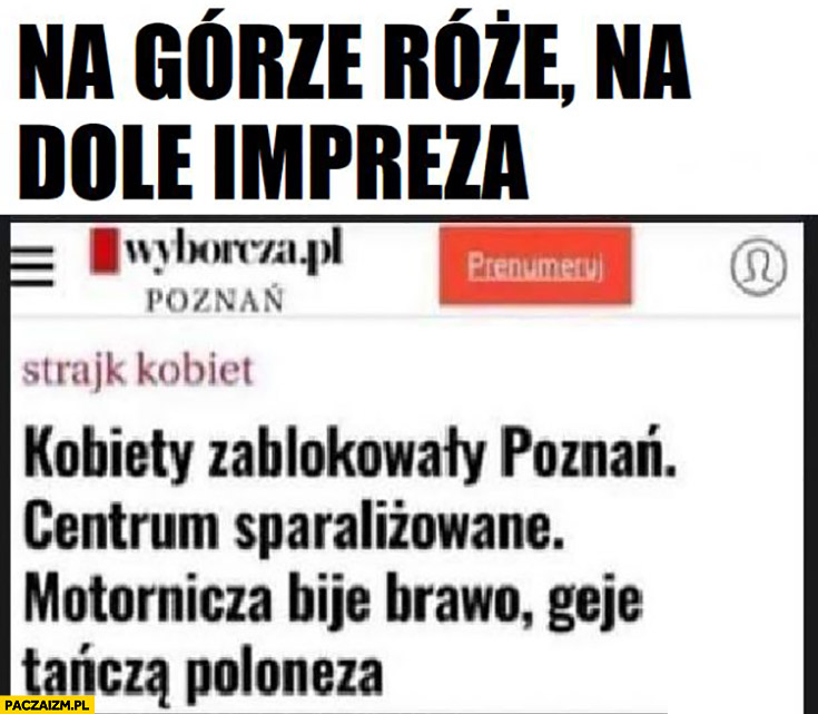 Na górze róże na dole impreza geje tańczą poloneza tytuł gazeta wyborcza