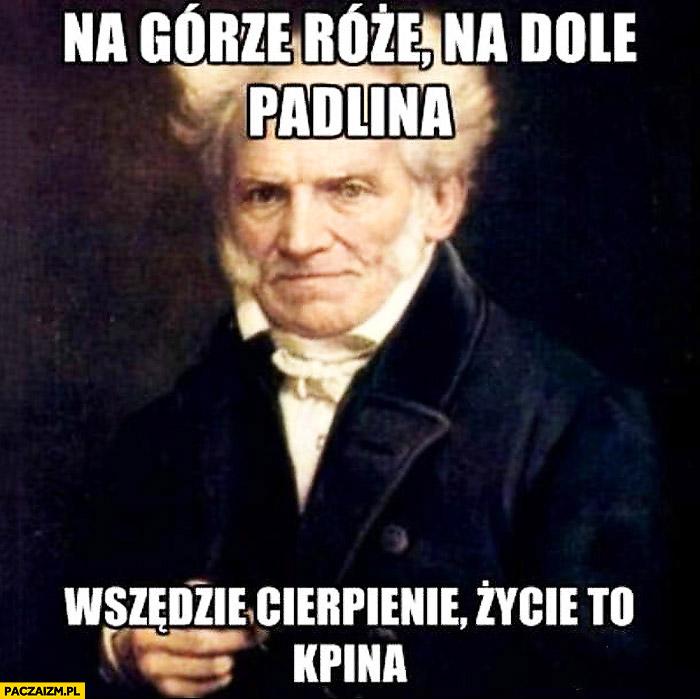 Na górze róże na dole padlina wszędzie cierpienie życie to kpina Schopenhauer