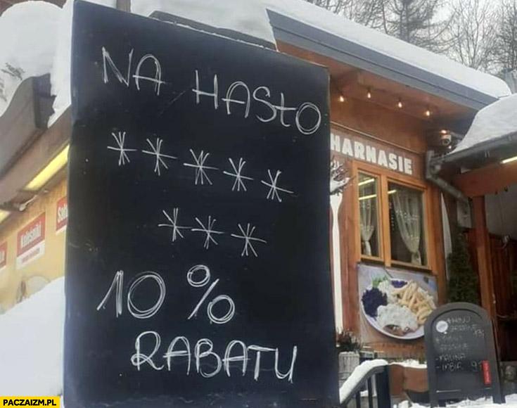 Na hasło jechać PiS osiem gwiazdek 10% procent rabatu knajpa restauracja lokal bar