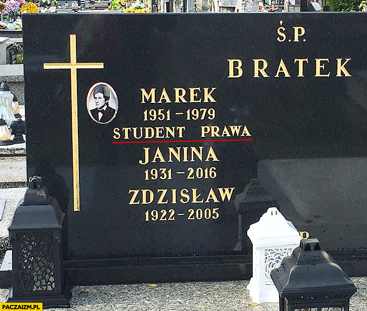 Nagrobek Marek student prawa grób