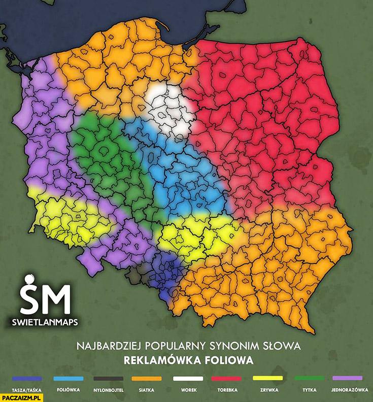 Najbardziej popularny synonim słowa reklamówka foliowa w Polsce mapa infografika