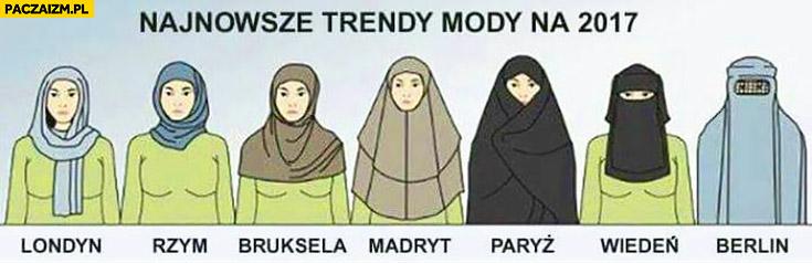 Najnowsze trendy mody 2017 burka hidżab muzułmanki chusta Londyn Rzym Bruksela Madryt Paryż Wiedeń Berlin