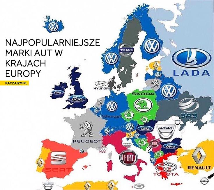 Najpopularniejsze marki aut w krajach Europy