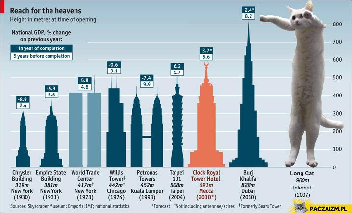Najwyższe budynki świata i long cat