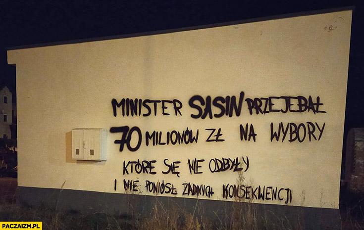 Napis na murze minister Sasin przewalił 70 milionów na wybory które się nie odbyły
