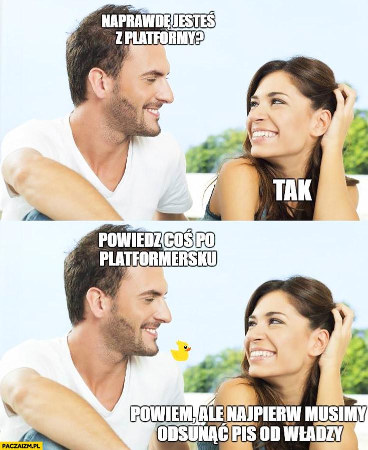 Naprawdę jesteś z Platformy? Tak powiedz coś po platformersku. Powiem, ale najpierw musimy odsunąć PiS od władzy