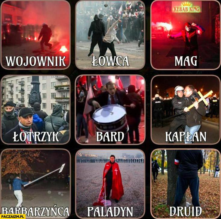 Narodowcy klasy postaci: wojownik, łowca, mag, łotrzyk, bard, kapłan, barbarzyńca, palladyn, druid marsz niepodległości