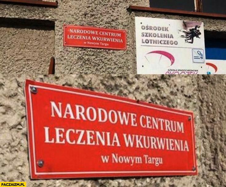 Narodowe centrum leczenia wkurwienia w Nowym Targu tabliczka napis