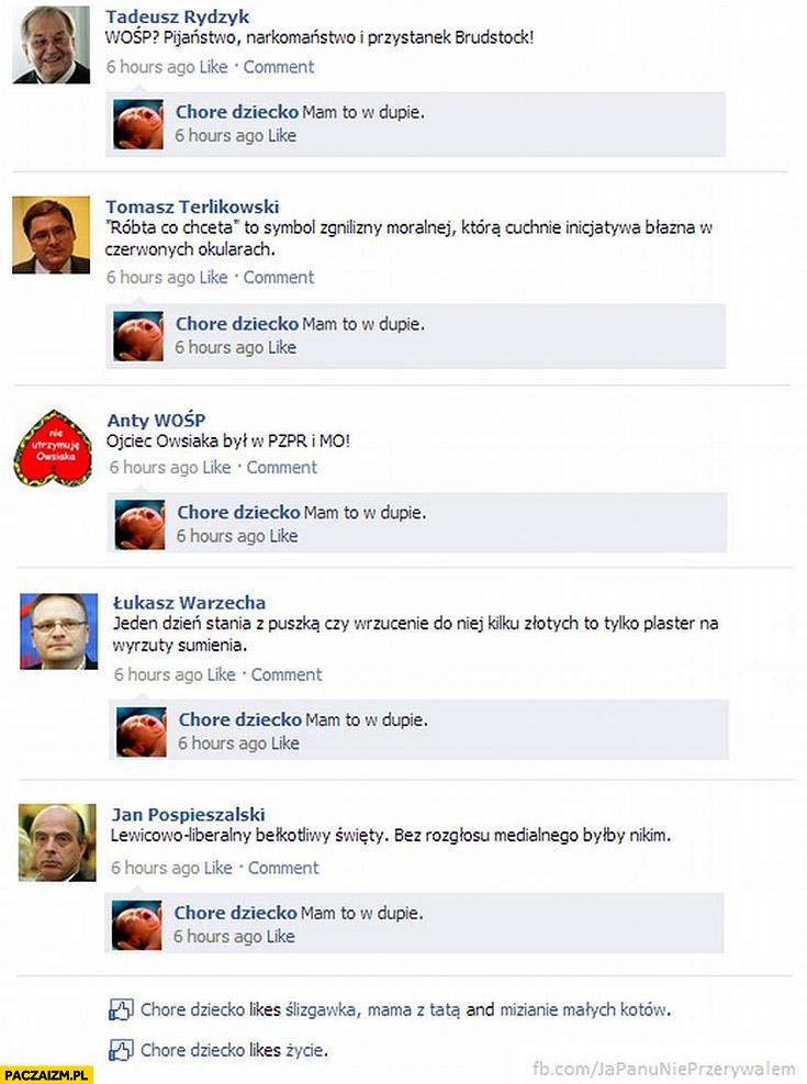 Narzekanie na WOŚP na facebooku. Chore dziecko: mam to w dupie. Rydzyk, Terlikowski, Warzecha, Pospieszalski