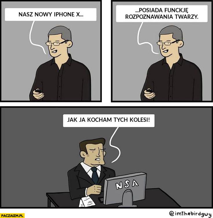 Nasz nowy iPhone x posiada funkcję rozpoznawania twarzy. NSA jak ja kocham tych kolesi Tim Cook