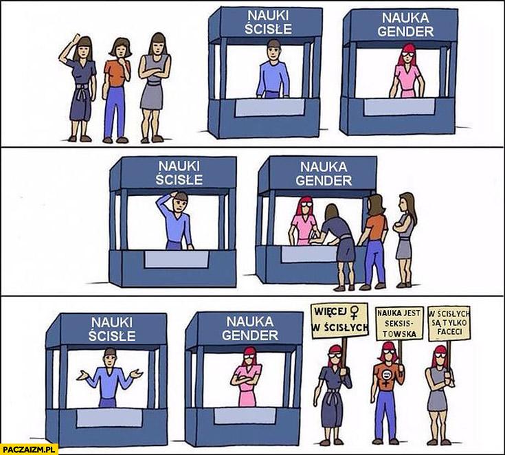 Nauki ścisłe vs gender feministki więcej kobiet w naukach ścisłych komiks