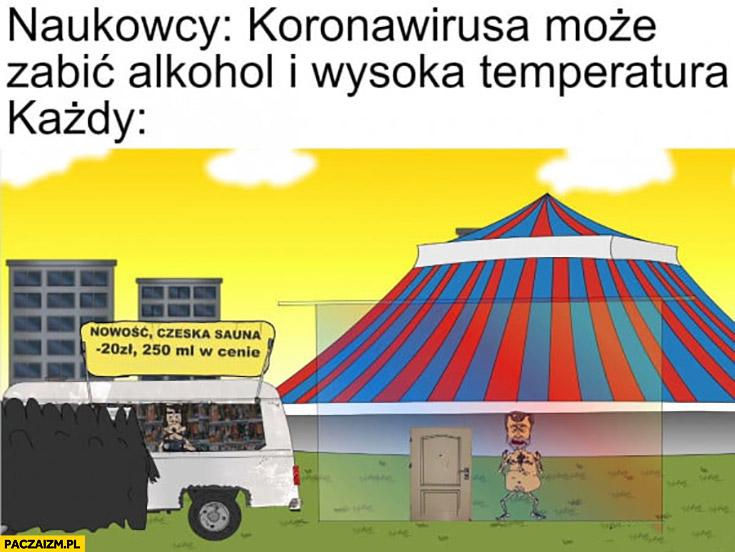 Naukowcy: koronawirusa może zabić alkohol i wysoka temperatura, każdy: nowość Czeska sauna 20zł, 250ml w cenie